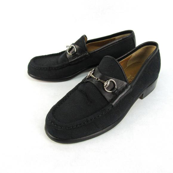 288fc340015 Gucci Horsebit GG Canvas 6 B Black Loafers